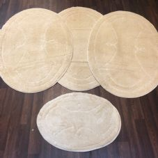 ROMANY WASHABLES GYPSY MATS 4PC SETS NON SLIP WING OVAL DESIGN CREAM IVORY RUGS